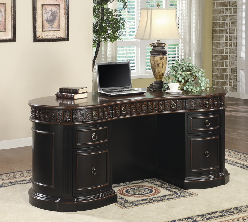 Nicolas Home Office Executive Desk In Two Tone Finish By