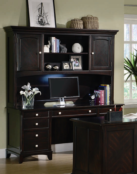 Garson Home Office Executive Credenza And Hutch In Rich Cappuccino Finish  By Coaster   801013DH