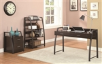 3 Piece Home Office Set in Deep Coffee and Black Metal Finish by Coaster - 801141-S