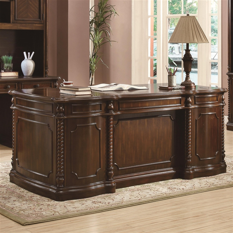 traditional home office executive desk in walnut finishcoaster