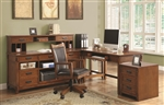 Maclay 4 Piece L-Shaped Desk Home Office Set in Red Brown Finish by Coaster - 801201-S