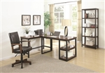 Marple 3 Piece L-Shaped Desk Home Office Set in Two Tone Brown and Black Finish by Coaster - 801242-S