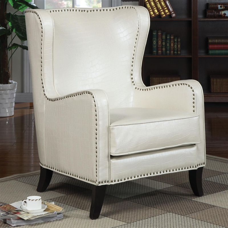 Wing traditional accent chair by coaster 900192 for Accent traditional chaise by coaster