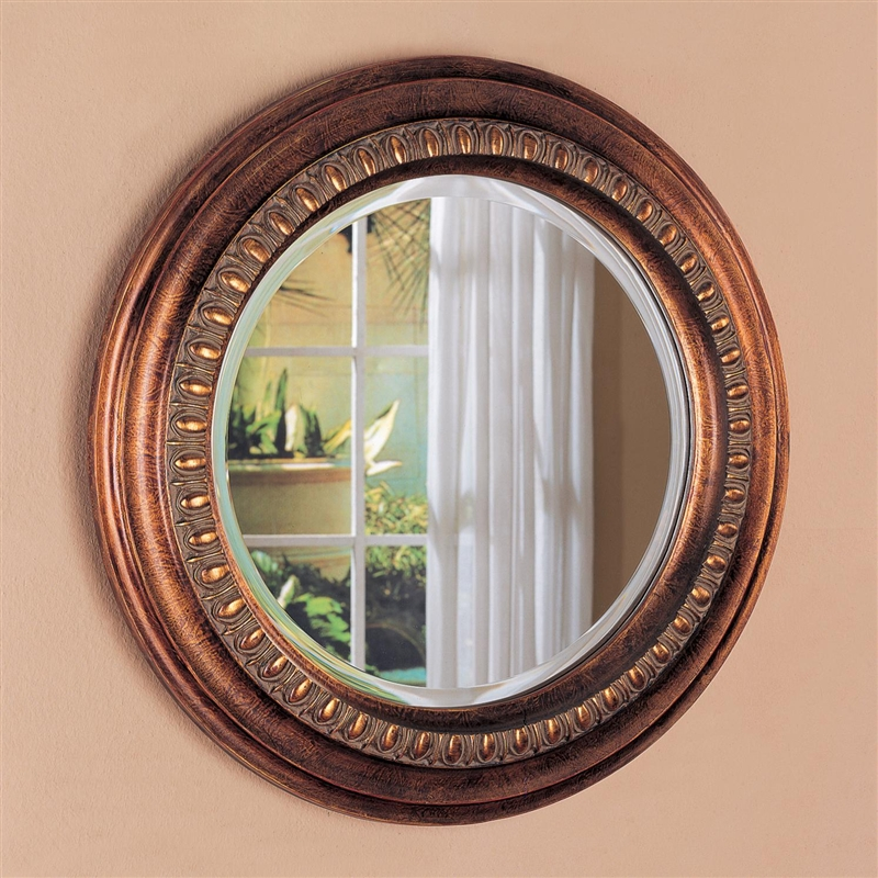 Bronze Finished Frame Round Accent Mirror By Coaster