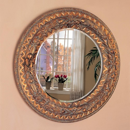 Bronze Finished Frame Round Accent Mirror By Coaster 900208