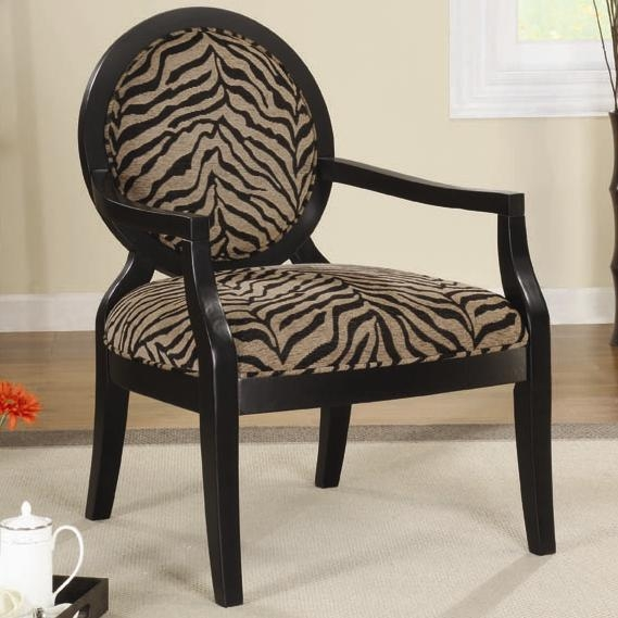 Cream And Brown Giraffe Print Fabric Accent Chair By