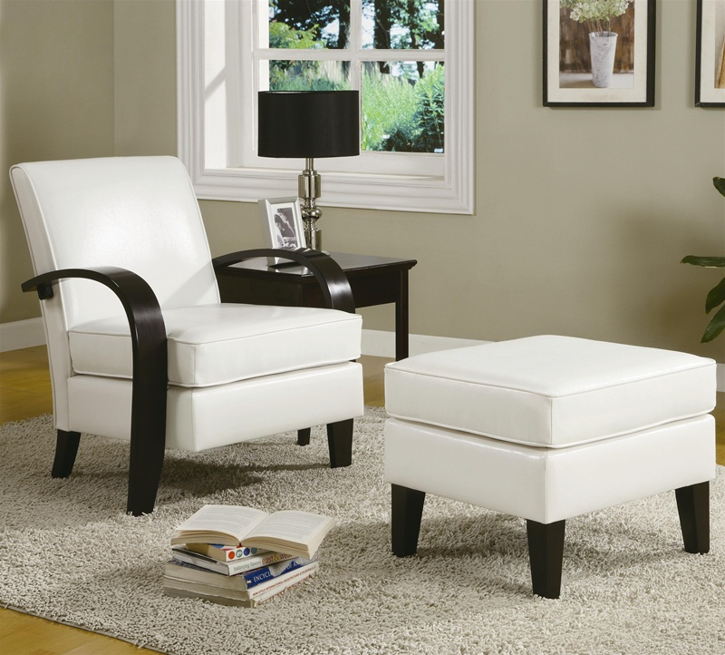 Bentwood White Leather Accent Chair with Storage Ottoman by Coaster - 900243 - Bentwood White Leather Accent Chair With Storage Ottoman By