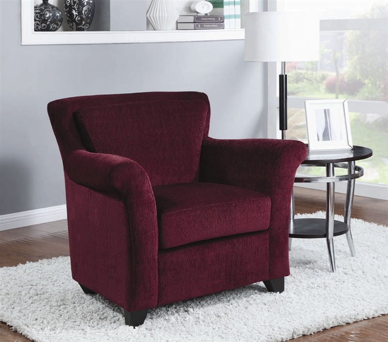 burgundy chenille accent chair by coaster - 900304