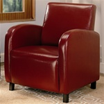 Red Vinyl Upholstered Arm Chair by Coaster - 900335