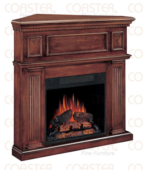 Decorative Corner Mantel Electric Fireplace In Mahogany Finish By Coaster 9