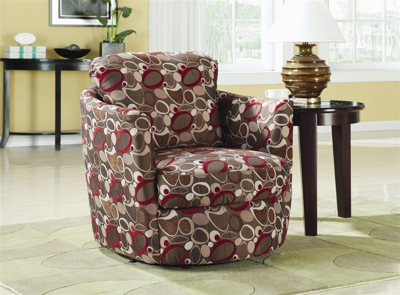 & Oblong Pattern Fabric Swivel Accent Chair by Coaster - 900406
