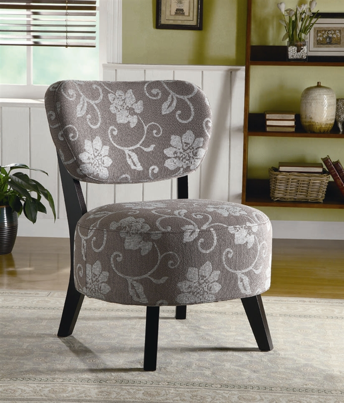 Grey And White Paterened Accent Chair: Grey And White Floral Fabric Accent Chair By Coaster