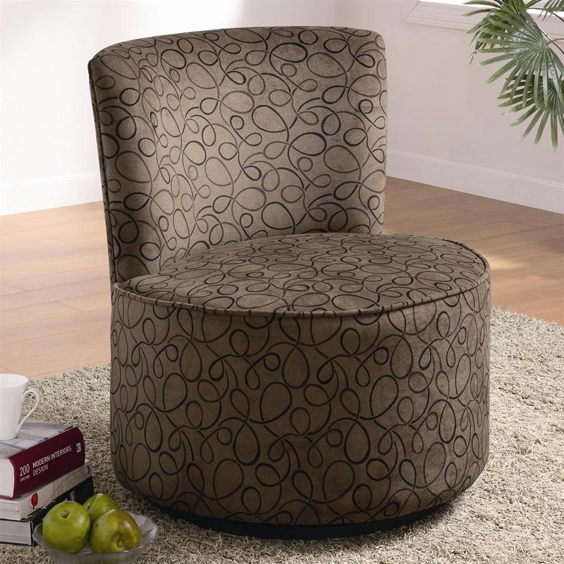 Fun Swirly Design Fabric Accent Seating Round Swivel Chair