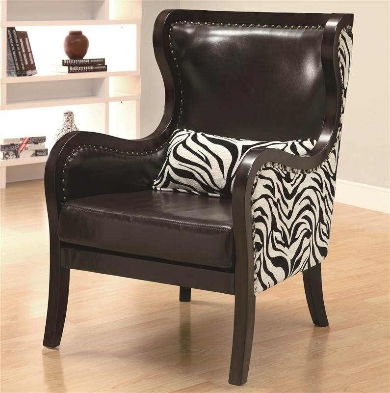 Traditional zebra print accent chair by coaster 902069 for Accent traditional chaise by coaster
