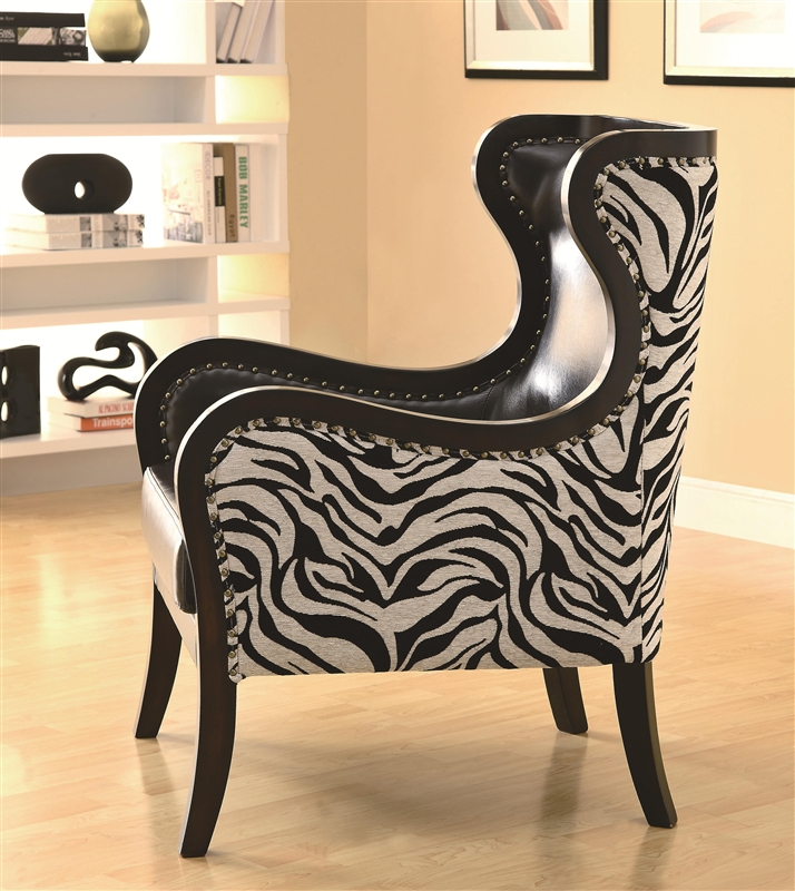 Native Print Accent Chair: Traditional Zebra Print Accent Chair By Coaster