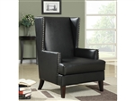 Black Leather Like Vinyl Wing Accent Chair by Coaster - 902078