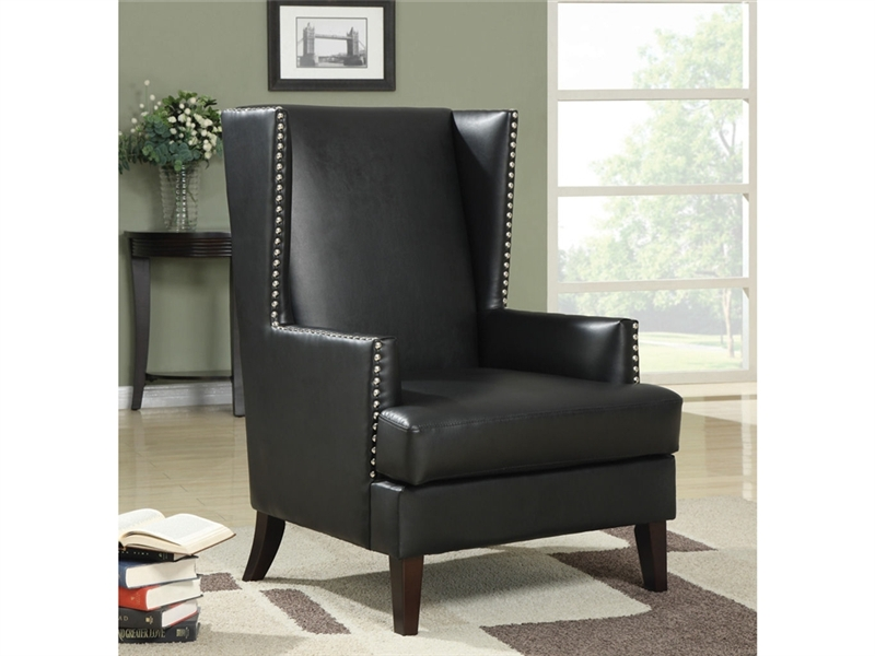 Black Leather Like Vinyl Wing Accent Chair By Coaster 902078