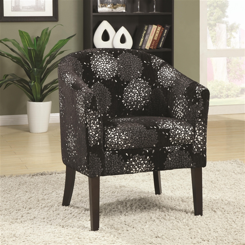accent chair in black and silver chenille by coaster - 902093