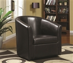 Swivel Accent Chair in Brown Vinyl Upholstery by Coaster - 902098