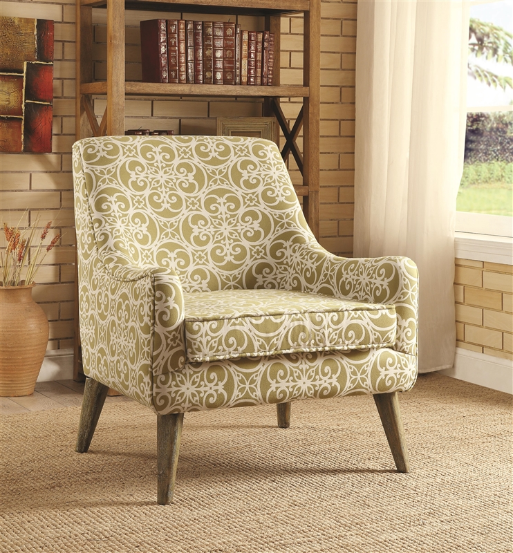 Vintage Inspired Green Pattern Fabric Accent Chair By