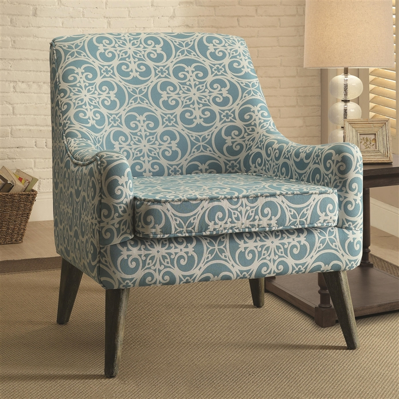 Vintage Inspired Blue Pattern Fabric Accent Chair By