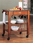 Kitchen Island Warm Oak Finish Granite Top and Wheels by Coaster - 910009