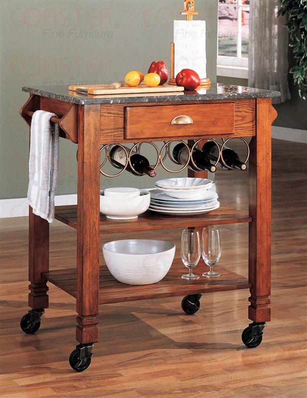 Kitchen Island Warm Oak Finish Granite Top And Wheels By