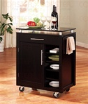Compact Kitchen Island Black and Nickel Finish by Coaster - 910012