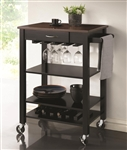 Kitchen Cart Black and Cherry Finish by Coaster - 910026