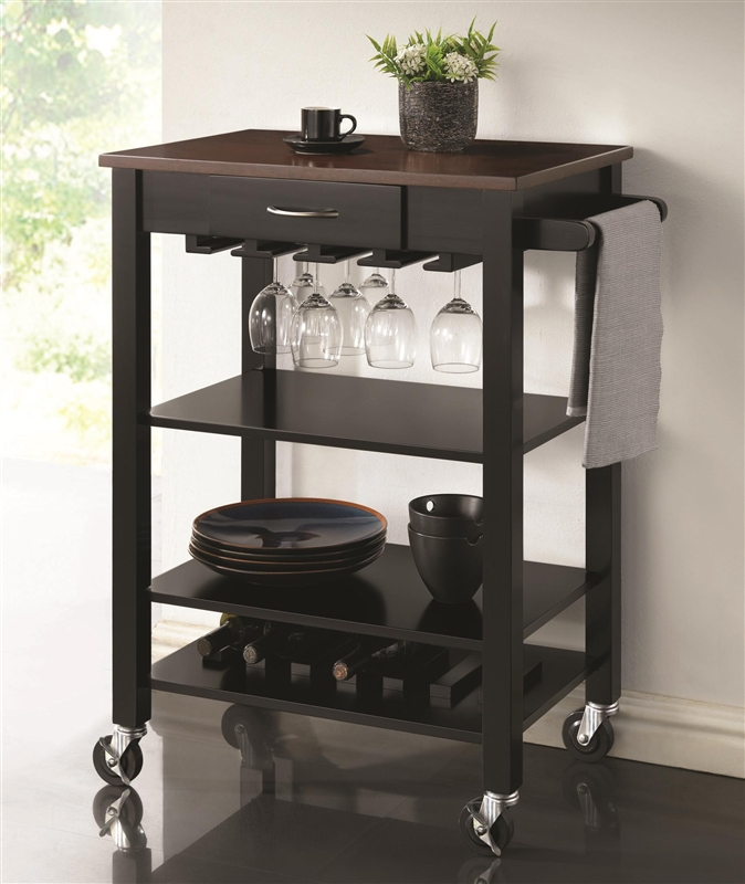 Kitchen Cart Black And Cherry Finish By Coaster 910026
