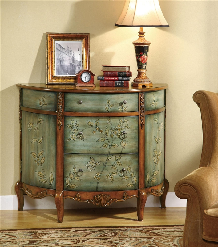 Painted Green Accent Chair Wood Antique: Antique Demilune Accent Cabinet With Floral Detailing By