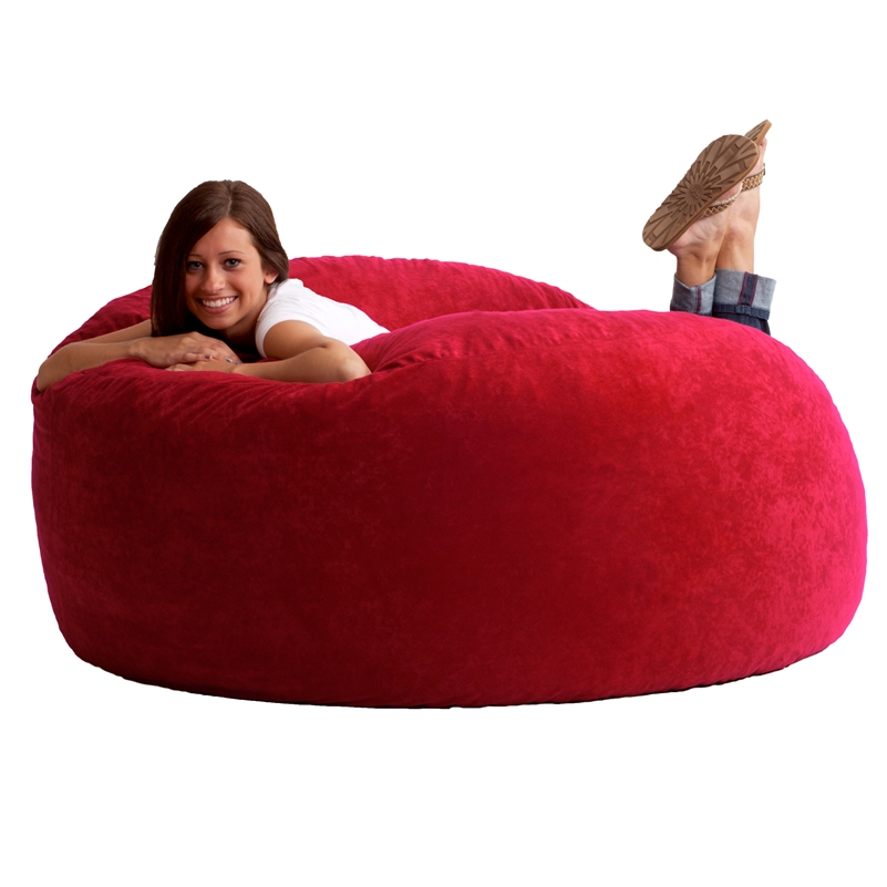 5 King Fuf Bean Bag Chair In Comfort Suede Fabric By