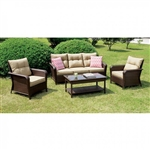 Jocelyn 4 Piece Patio Seating Set in Brown by Furniture of America - FOA-CM-OS1831
