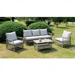 Jacquelyn 4 Piece Patio Seating Set in Light Gray by Furniture of America - FOA-CM-OS1832