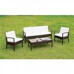Makenna 4 Piece Patio Seating Set in Espresso by Furniture of America - FOA-CM-OS2119