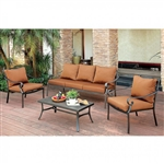 Bonquesha I 4 Piece Patio Set in Distressed Black by Furniture of America - FOA-CM-OS2501-SF