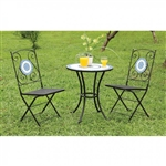Aster 3 Piece Patio Set in Blue & Black by Furniture of America - FOA-CM-OT1801-T