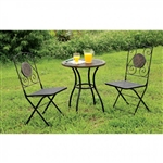 Betim 3 Piece Patio Set in Black by Furniture of America - FOA-CM-OT1810-T