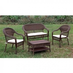Olina 4 Piece Patio Seating Set in Brown Wicker by Furniture of America - FOA-CM-OT1811