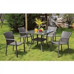 Ayesha 5 Piece Patio Dining Set in Gray by Furniture of America - FOA-CM-OT1850-T