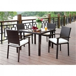 Shania 5 Piece Patio Dining Set in Brown by Furniture of America - FOA-CM-OT1852-T