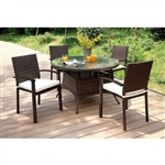 Shania 5 Piece Round Patio Dining Set in Brown by Furniture of America - FOA-CM-OT1853-RT