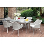 Shivani 7 Piece Patio Dining Set in Gray by Furniture of America - FOA-CM-OT1866-T