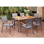 Oshawa 7 Piece Patio Dining Set in Oak & Gray by Furniture of America - FOA-CM-OT1868-T