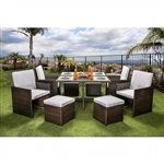Keisha 9 Piece Patio Dining Set in Espresso by Furniture of America - FOA-CM-OT2101