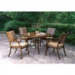 Desiree 5 Piece Round Patio Dinning Table Set in Brown by Furniture of America - FOA-CM-OT2126-RT