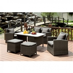 Nashira 6 Piece Patio Sofa Set in Gray by Furniture of America - FOA-CM-OT2552