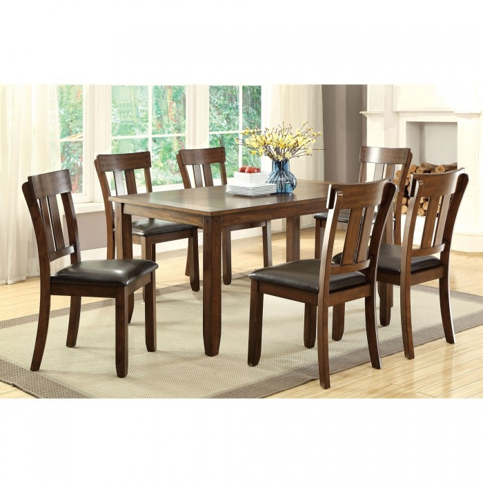 Brockton i 7 piece dining room set by furniture of america for 7 piece dining room set