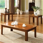 Town Square II 3 Piece Occasional Table Set in Medium Oak by Furniture of America - FOA-CM4168OAK-3PK