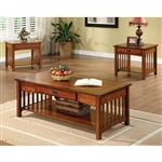 Seville 3 Piece Occasional Table Set in Antique Oak by Furniture of America - FOA-CM4245-3PK
